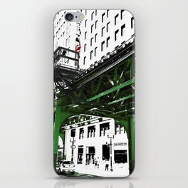 Chicago photography - Chicago EL art print in green black and white iPhone Skin