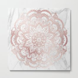 Rose Gold Mandala Star Metal Print