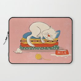 Sleeping white cat Laptop Sleeve