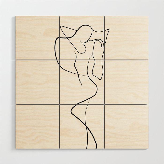 Lovers - Minimal Line Drawing 1 Wood Wall Art