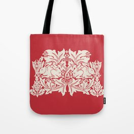 William Morris Style Victorian Christmas Bunnies Tote Bag