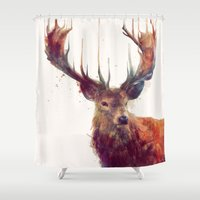 animal skull Shower Curtains featuring Red Deer // Stag by Amy Hamilton