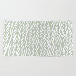 Herringbone mudcloth pattern - light green Beach Towel