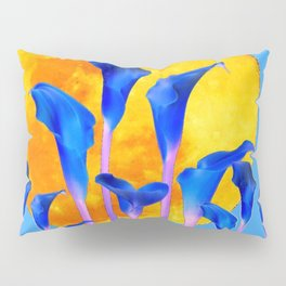 GOLDEN FULL MOON BLUE CALLA LILIES BLUE ART Pillow Sham