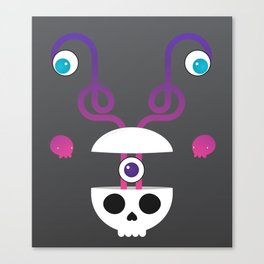Skull's Brain is Unravelling & Its Friends Came for the Party Canvas Print