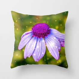 Snow Touched Purple Cone Flower Throw Pillow