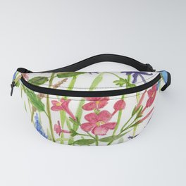 Garden Flowers Botanical Floral Watercolor on Paper Fanny Pack
