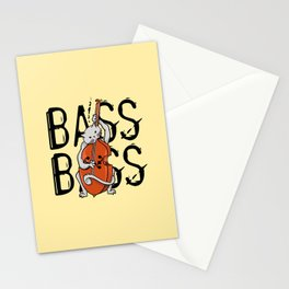 Cat Playing A Double Bass Stationery Cards