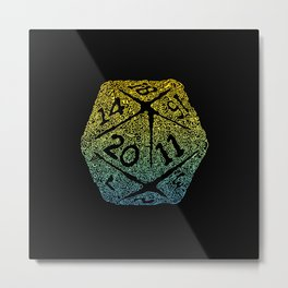 d20 dice pattern - yellow and blue gradient over black - icosahedron Metal Print