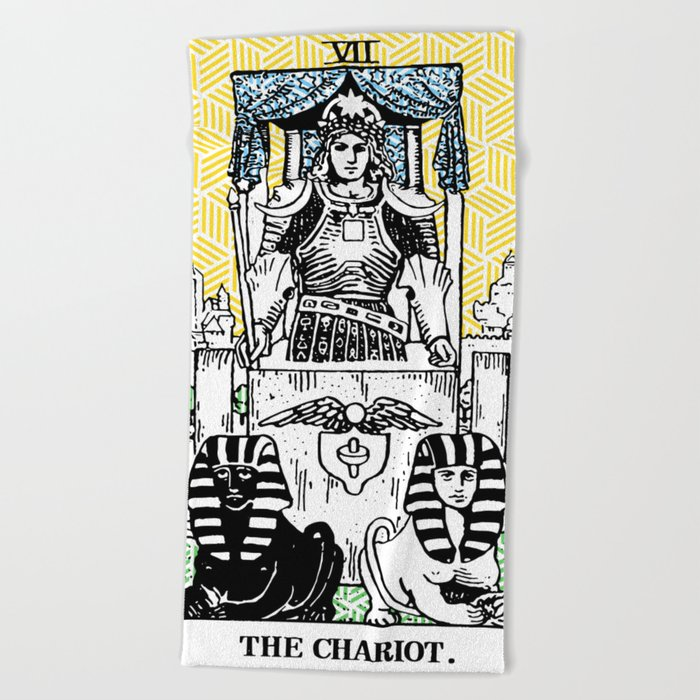Geometric Tarot Print - The Chariot Beach Towel by annaleebeer