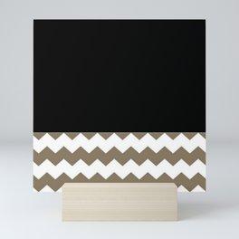 Classy Chevron Khaki Black And White Pattern Mini Art Print