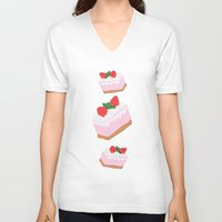 cake V-neck T-shirts featuring Cake by Inbeeswax