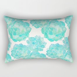 Rosette Succulents – Turquoise Palette Rectangular Pillow