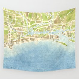 Biloxi Mississippi coast watercolor map Wall Tapestry