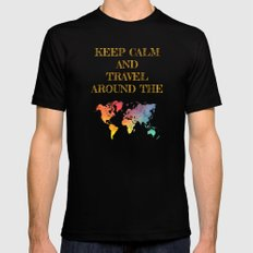 Keep Calm and travel around the world Mens Fitted Tee Black MEDIUM