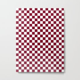 Small Checkered - White and Burgundy Red Metal Print