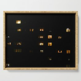Night landscape facades and windows of houses in the city Serving Tray