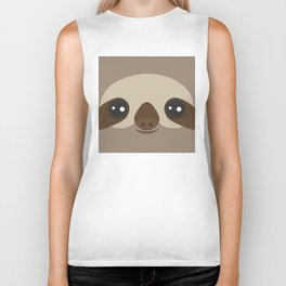 funny and cute smiling Three-toed sloth on brown background Biker Tank