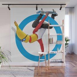 Banana Sk8 - Blue Circle. Wall Mural