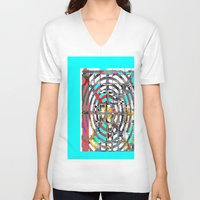 grid V-neck T-shirts featuring COLOR GRID by  ECOLARTE