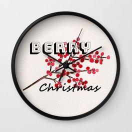 Happy berry christmas I Wall Clock