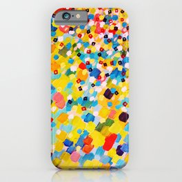 SWEPT AWAY 2 - Vibrant Colorful Rainbow Mango Yellow Waves Mermaid Splash Abstract Acrylic Painting iPhone Case