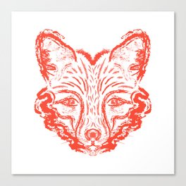 Muzzle foxes. Fox with sideburns, sketch strokes. Canvas Print
