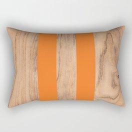 Wood Grain Stripes - Orange #840 Rectangular Pillow