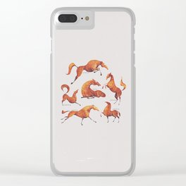 Horse poses Clear iPhone Case