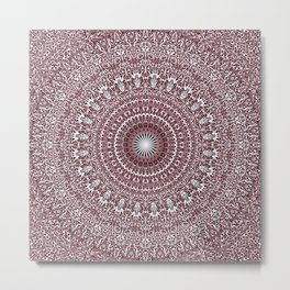 Light Pink Floral Mandala Metal Print