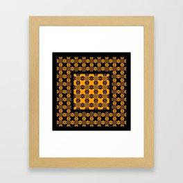 African Ethnic Pattern Black and Orange Framed Art Print