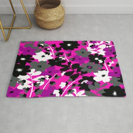 SUNFLOWER TOILE PINK BLACK GRAY WHITE PATTERN Rug