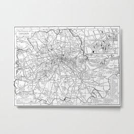 Vintage Map of London England (1911) Metal Print