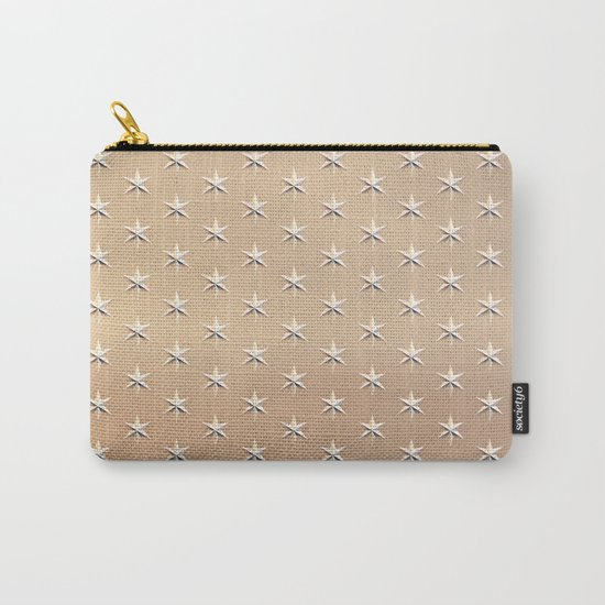 Shiny Silver Star Pattern on Gold Carry-All Pouch