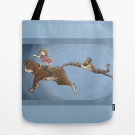 Cat riding Tote Bag