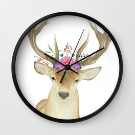 Stag Watercolor Wall Clock