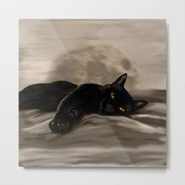 Black Cat chilling Metal Print