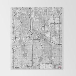 Minneapolis Map Line Throw Blanket