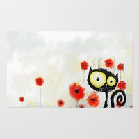 poppies Area & Throw Rugs featuring Poppies  by Katja Main