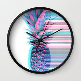 Light Blue and Pink Pineapple Wall Clock