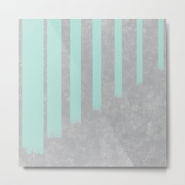 Soft cyan stripes on concrete Metal Print