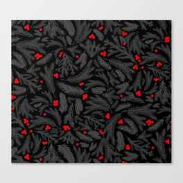 A Piny Kind of Christmas in Midnight Black Canvas Print