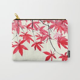 red maple leaves watercolor painting Carry-All Pouch