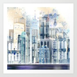 Blue City Scape Art Print