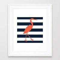 crane Framed Art Prints featuring Crane by Gathered Nest Designs