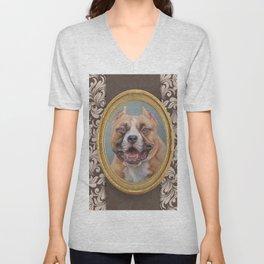 Old Gentleman. Amstaff Dog portrait in gold frame Unisex V-Neck
