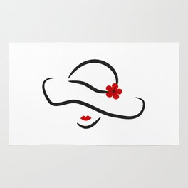 hand drawn lady in hat with red flower portrait isolated on white background Rug