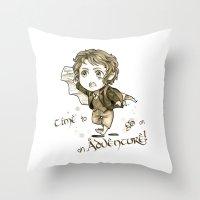 chibi Throw Pillows featuring Chibi Bilbo by KuroCyou