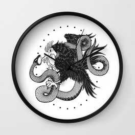 Rooster vs Snake Wall Clock
