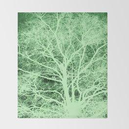 Green tree silhouette Throw Blanket